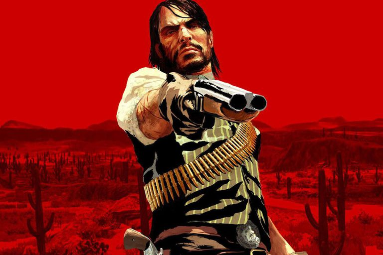 Red Dead Redemption splashscreen with character pointing a shotgun