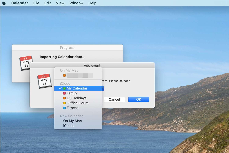 Calendar Import menu on a Mac