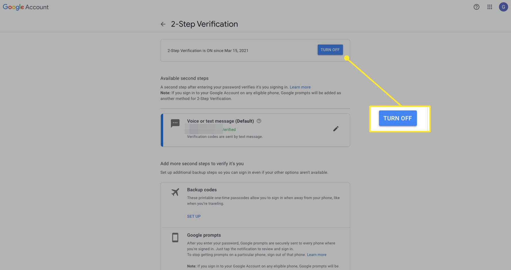 Google 2-Step verification settings with Turn Off highlighted