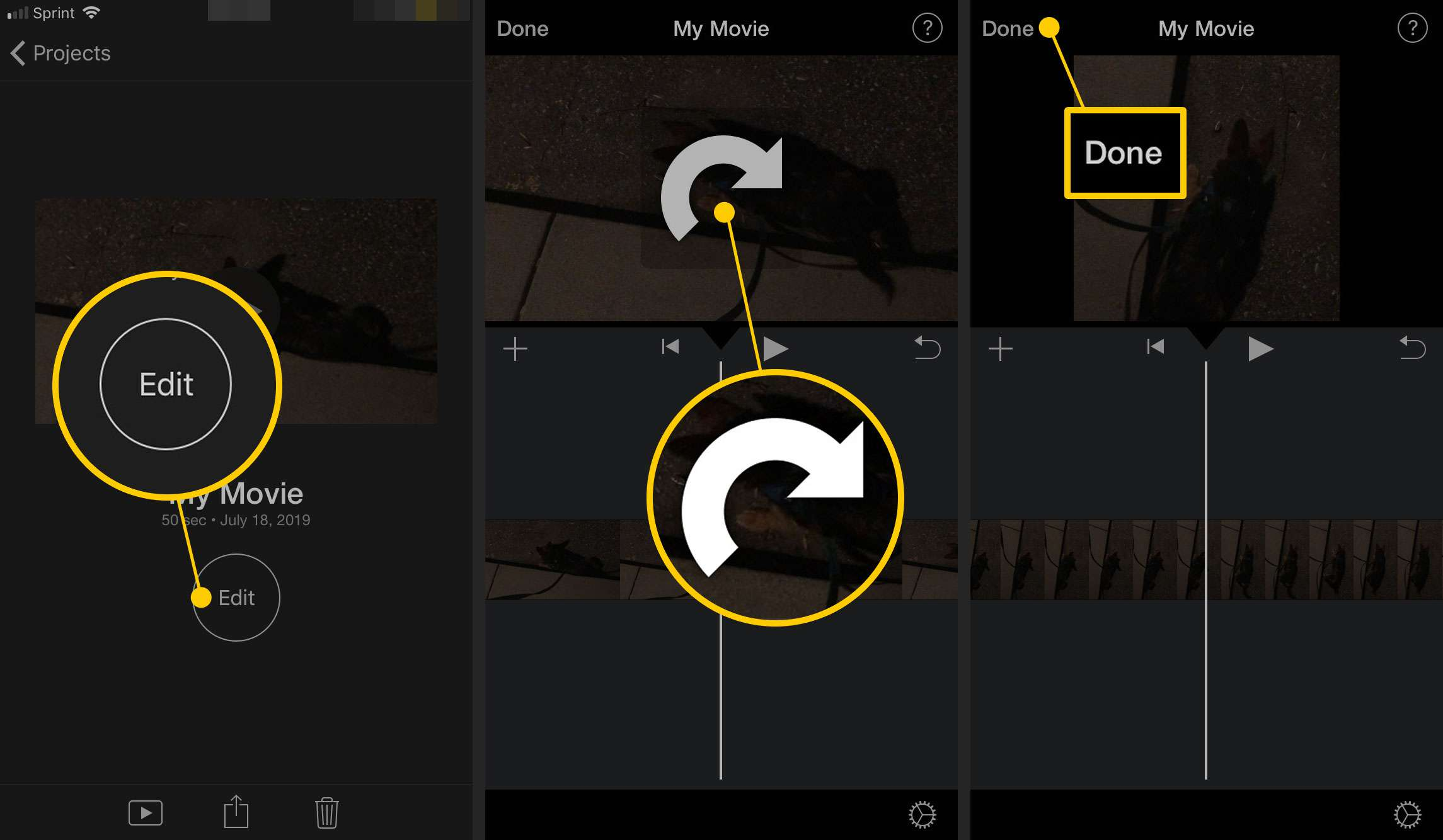 Rotating a video clip in iMovie on an iPhone