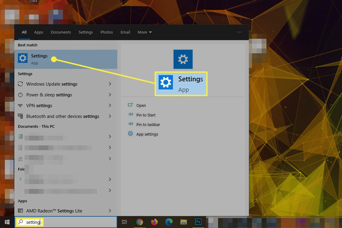 The Settings App in search on Windows 10.