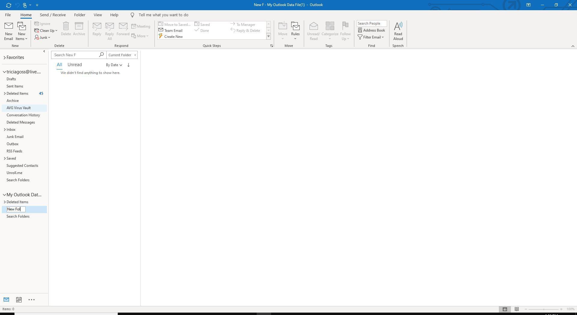 Screenshot of new folder name