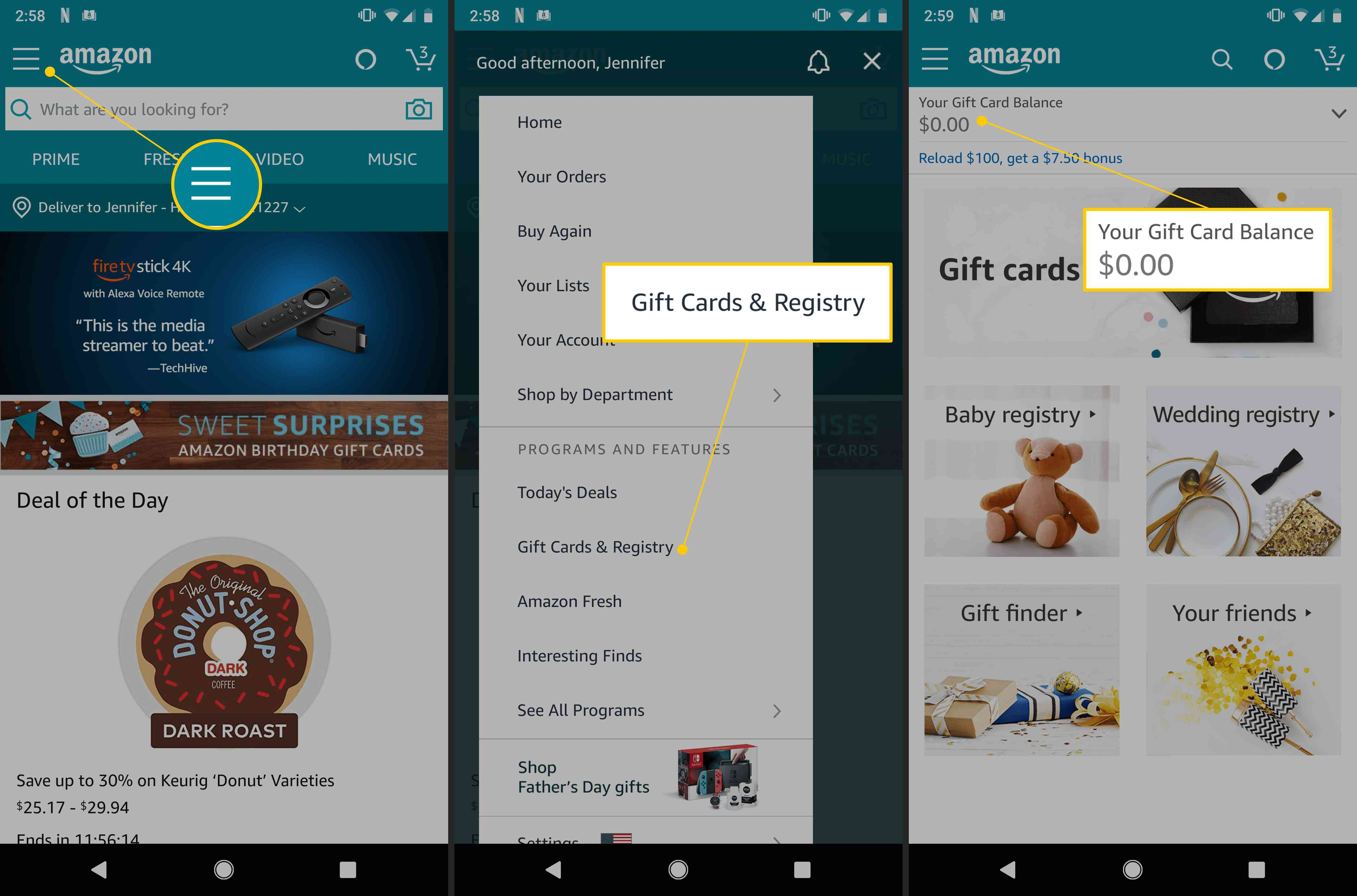 Amazon mobile app's Menu button, Gift Cards & Registry button, and Your Gift Card Balance