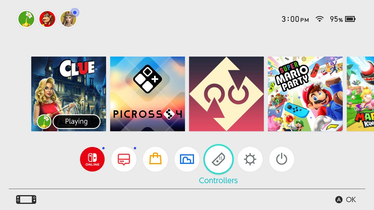 Tap Controllers on the Switch Home Screen