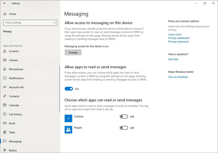 The Messaging App Permission Screen in Windows 10 Settings.