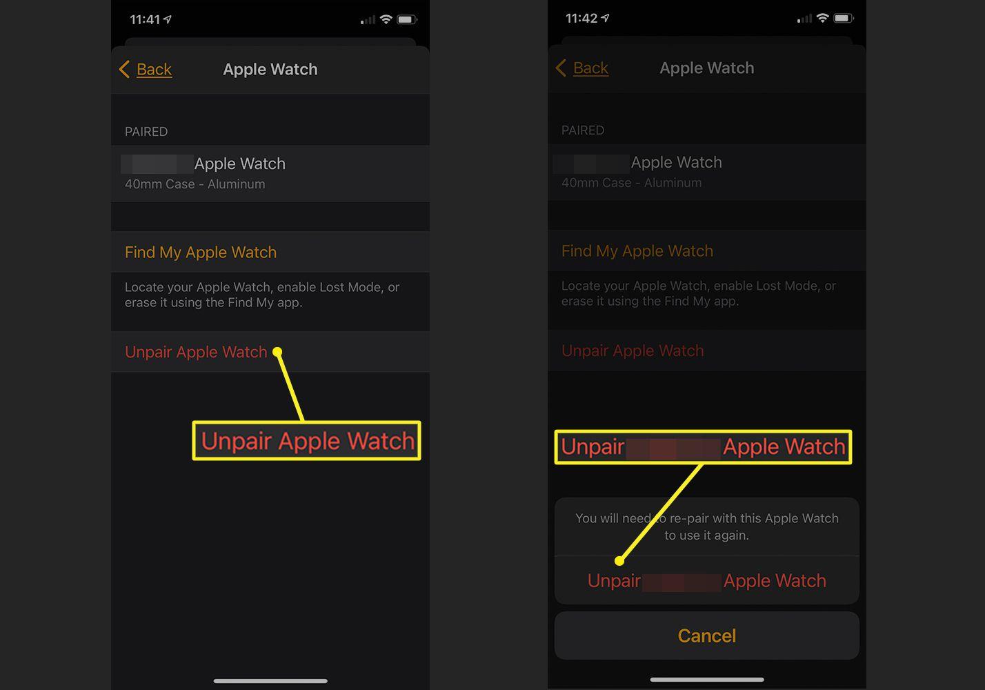 iPhone Watch app showing Unpair Apple Watch settings