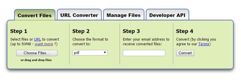 Screenshot of the Zamzar online file converter