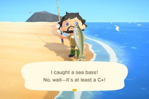 Animal Crossing character holding a fish