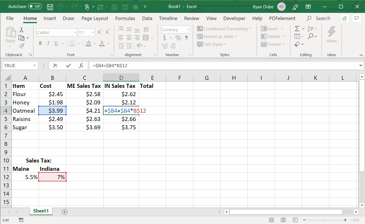 Screenshot of absolute cell references in Excel