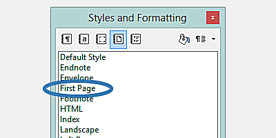 The LibreOffice Styles and Formatting box.