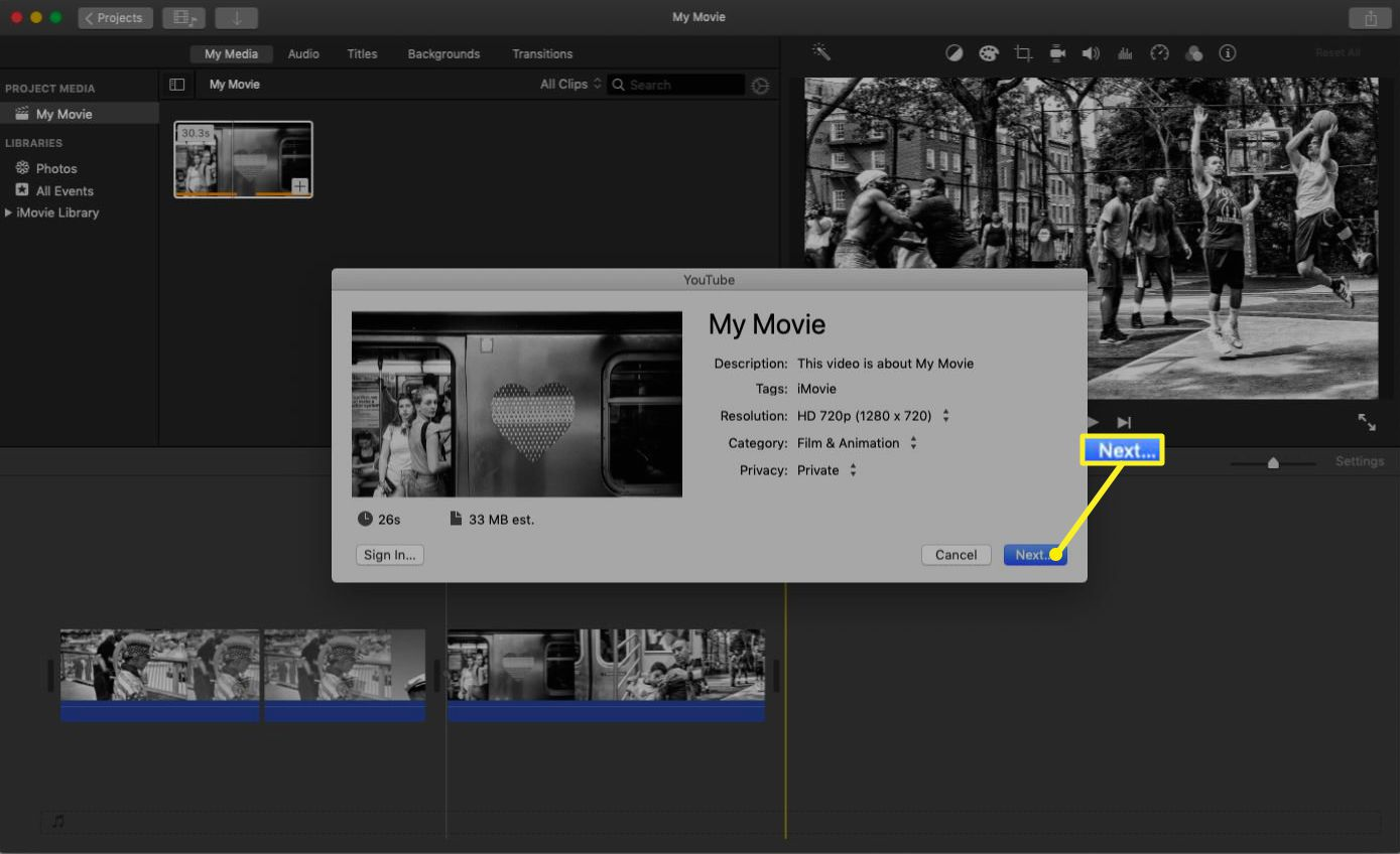 iMovie with a pop-up showing YouTube sharing options.