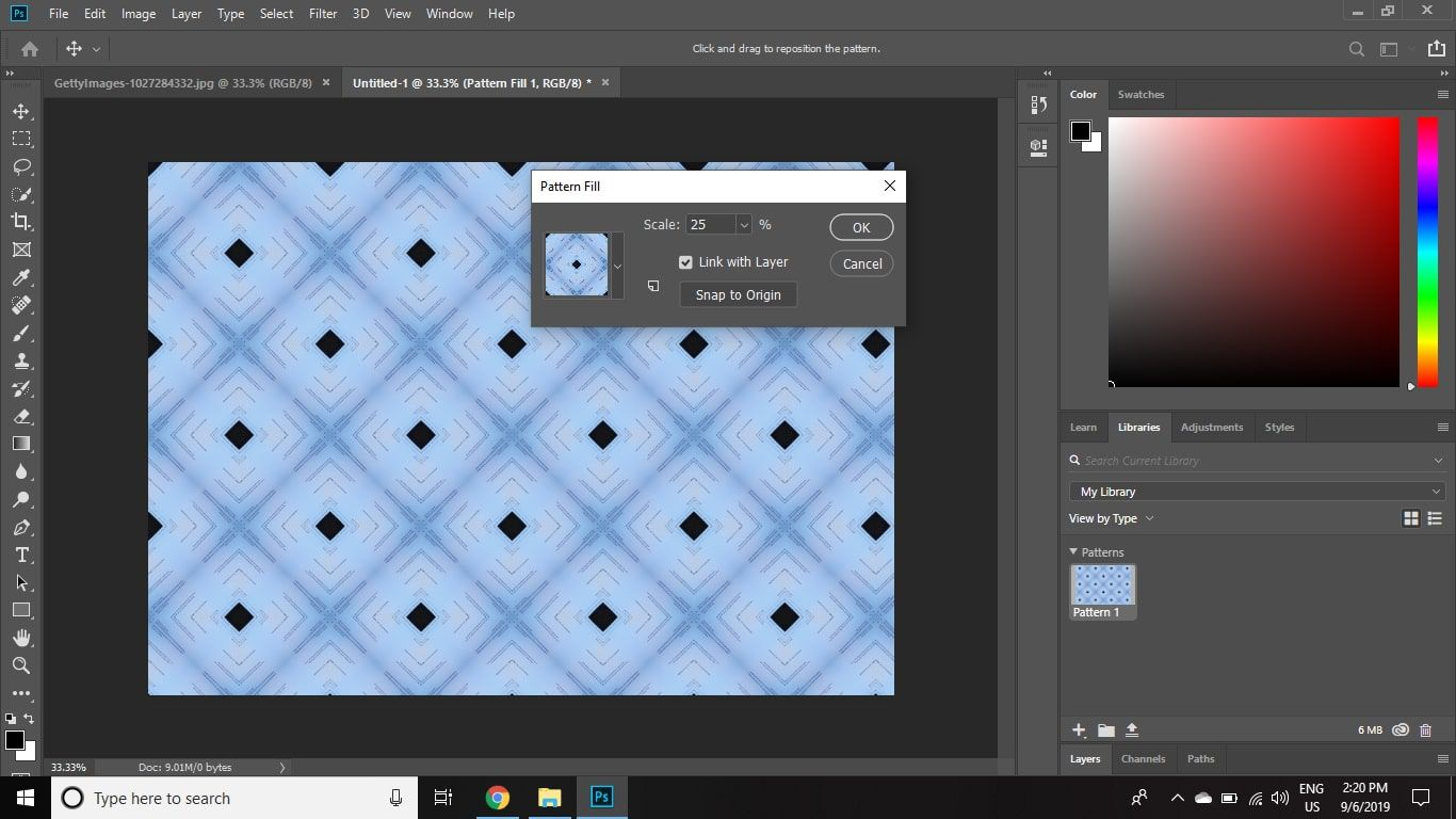 Open the Libraries palette in Photoshop to see your pattern.