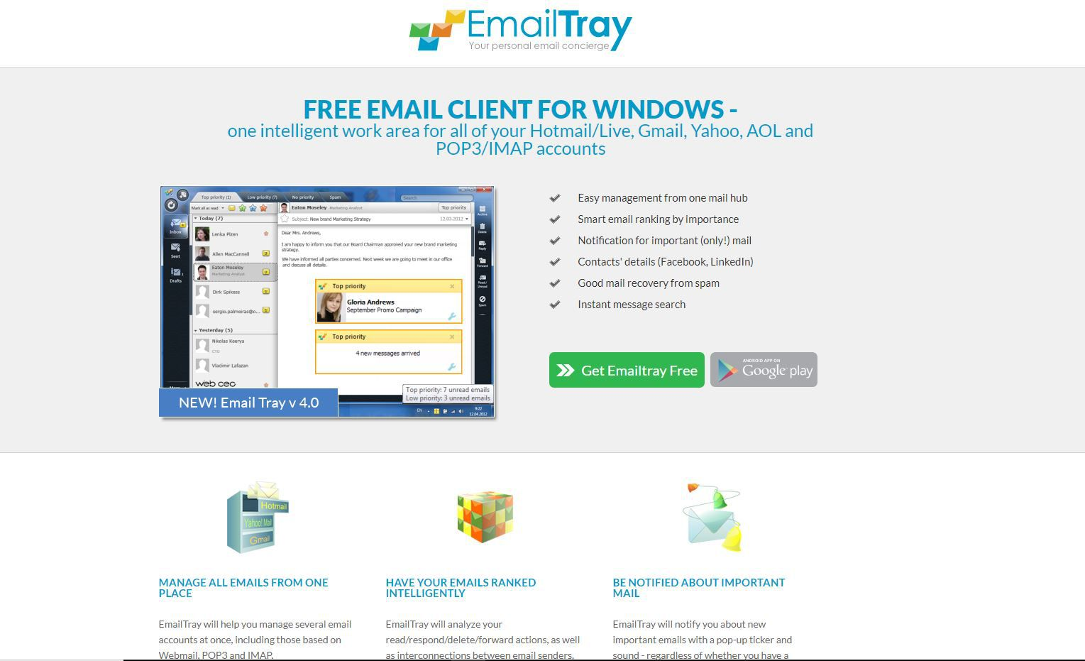 EmailTray website