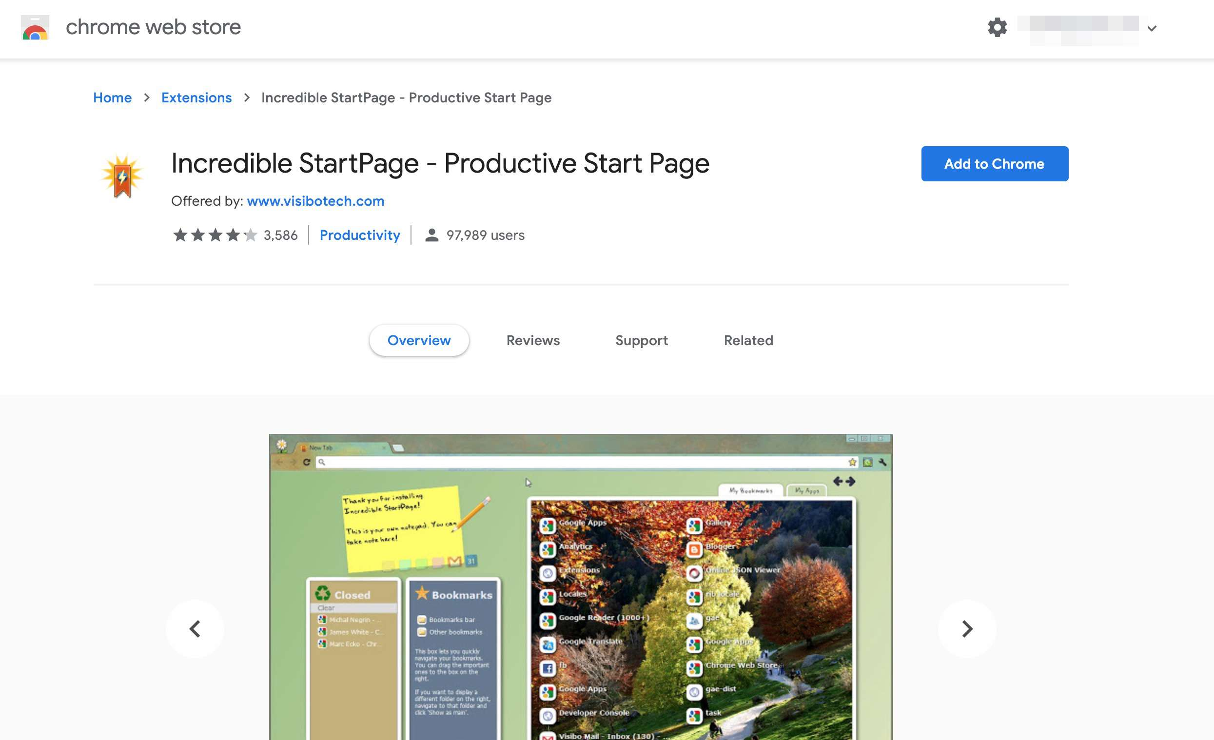 Incredible Start Page Chrome extension