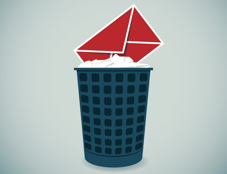 Illustration of red email envelope in garbage can