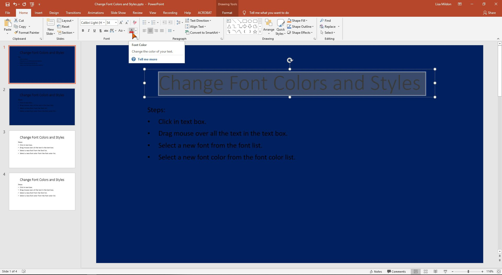 PowerPoint interface highlighting the Font Color option.