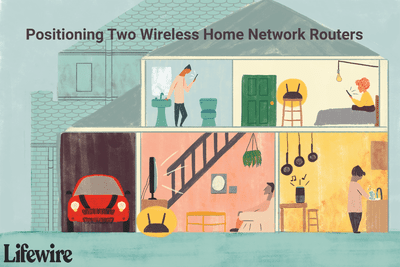 An illustration of how to position two wireless routers in a two-story home.