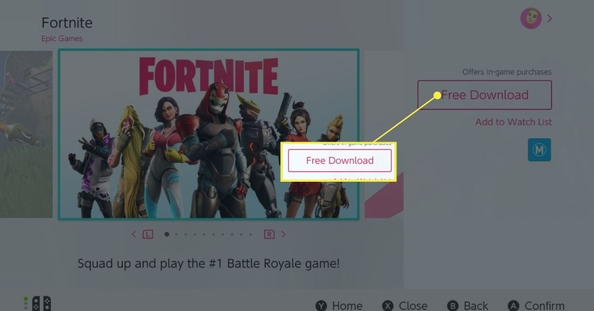 Fortnite in the eShop on the Nintendo Switch.
