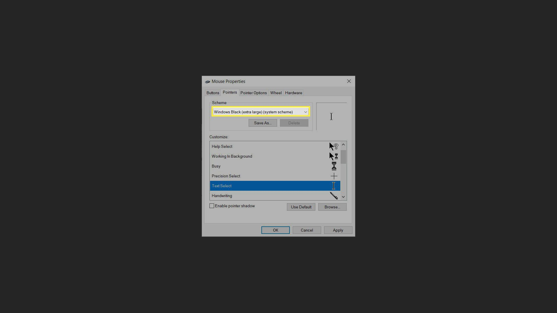 Preview Cursor in Mouse Properties