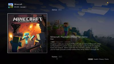 Minecraft for PS4 demo in the PlayStation store.