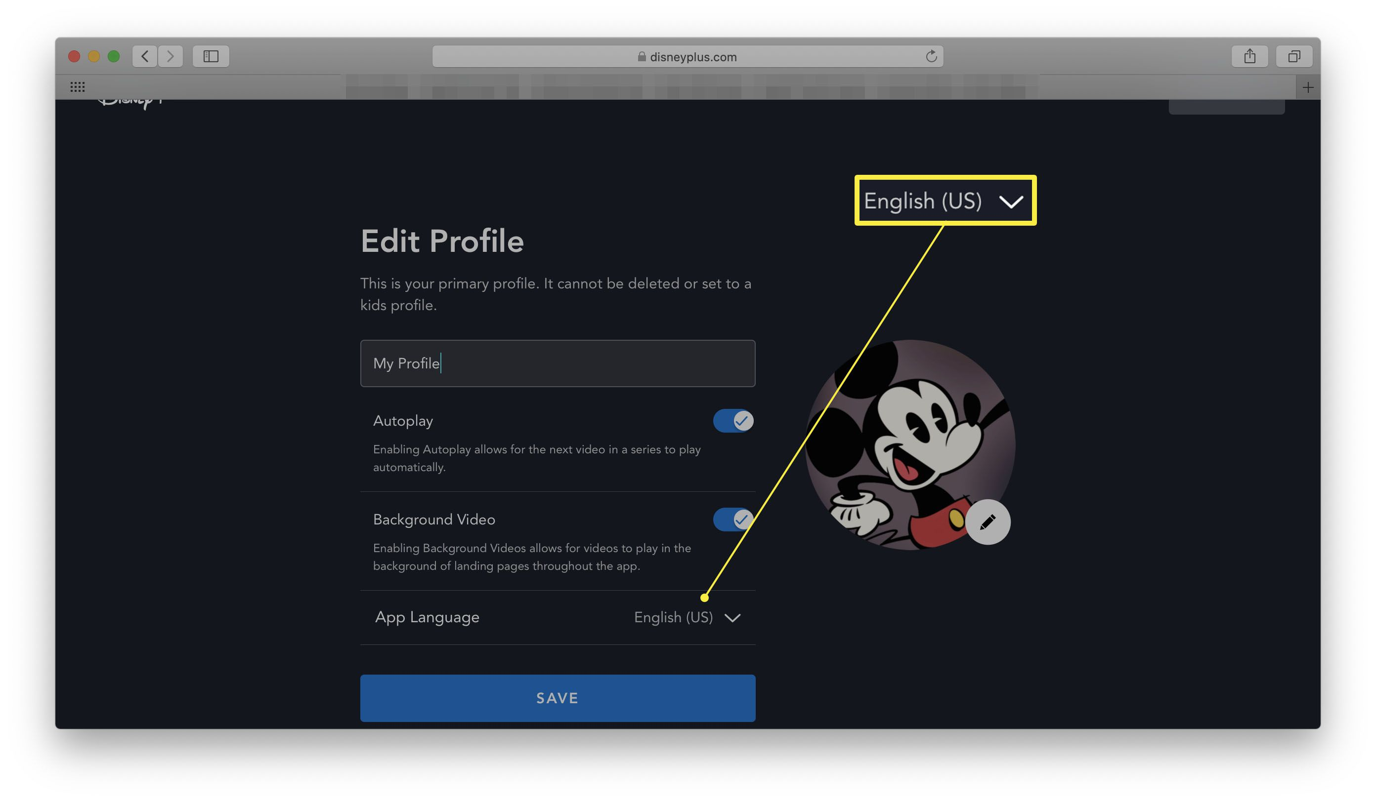 Disney+ website with Edit Profile open and App Language highlighted