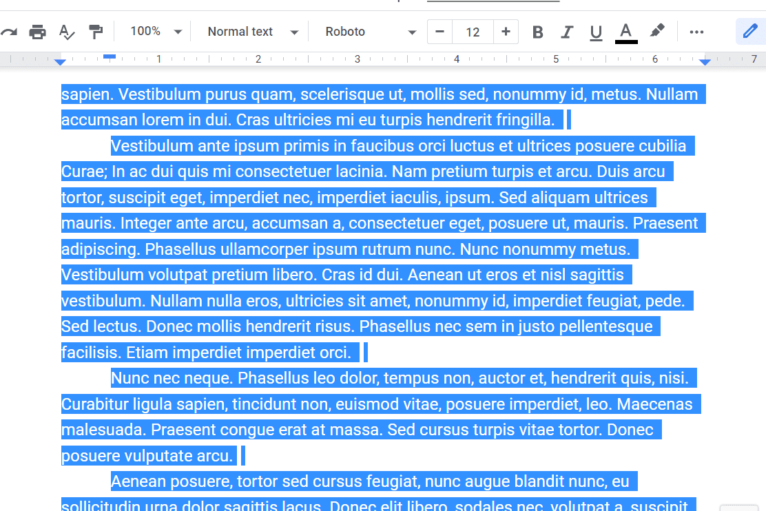 Screenshot of highlighted text in Google Docs