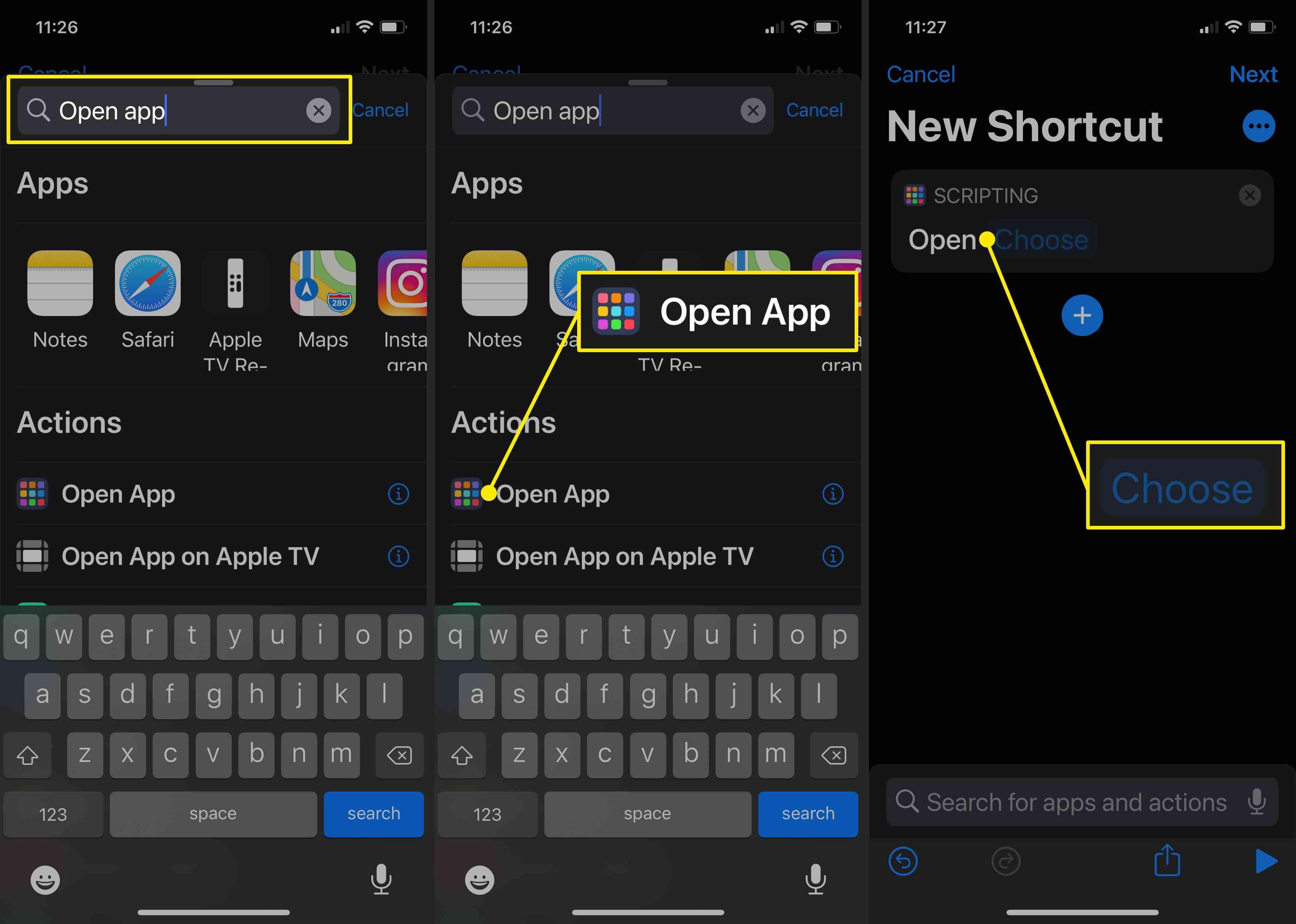 Screenshots of creating a shortcut to open an app in iOS 14.