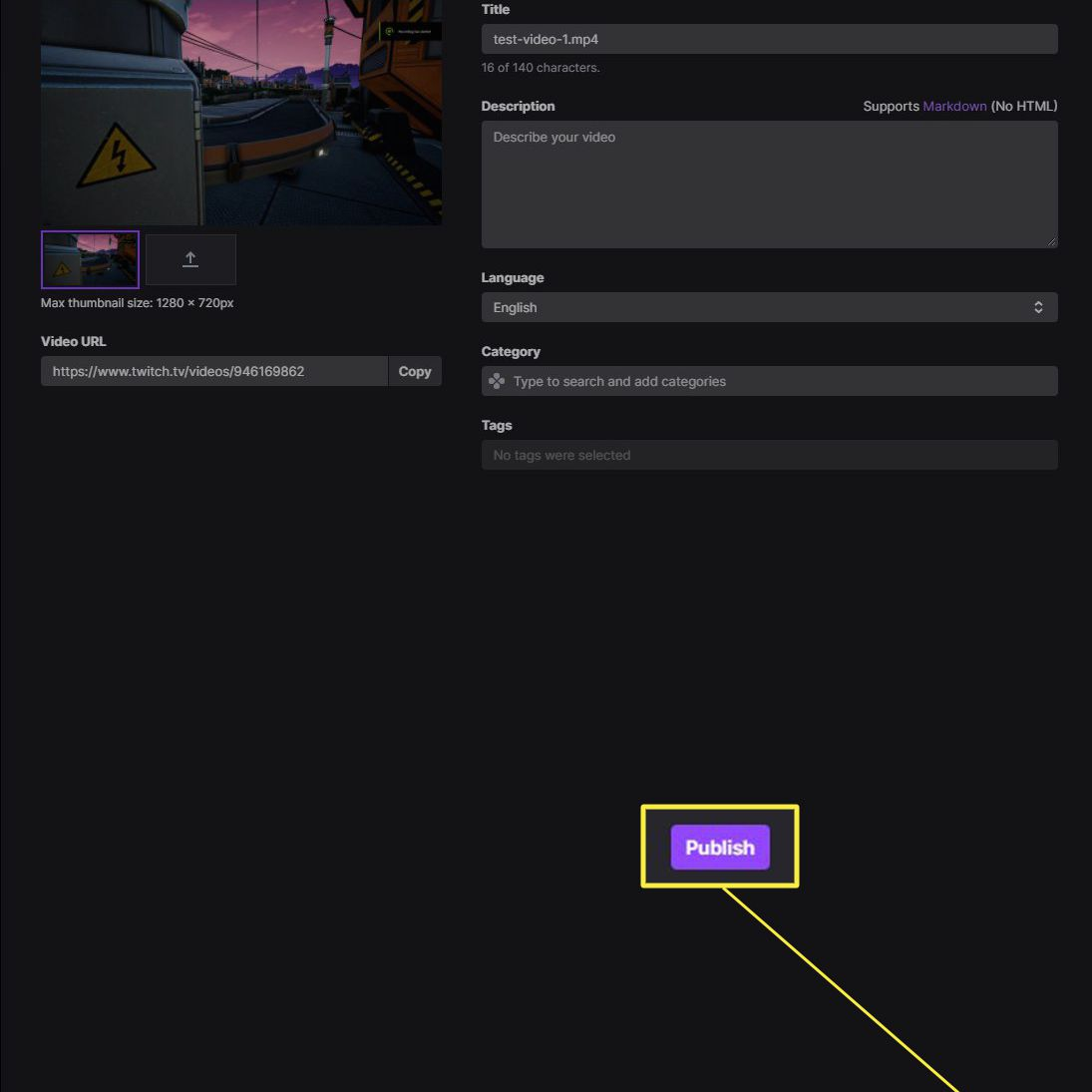 Twitch video upload screen with Publish highlighted