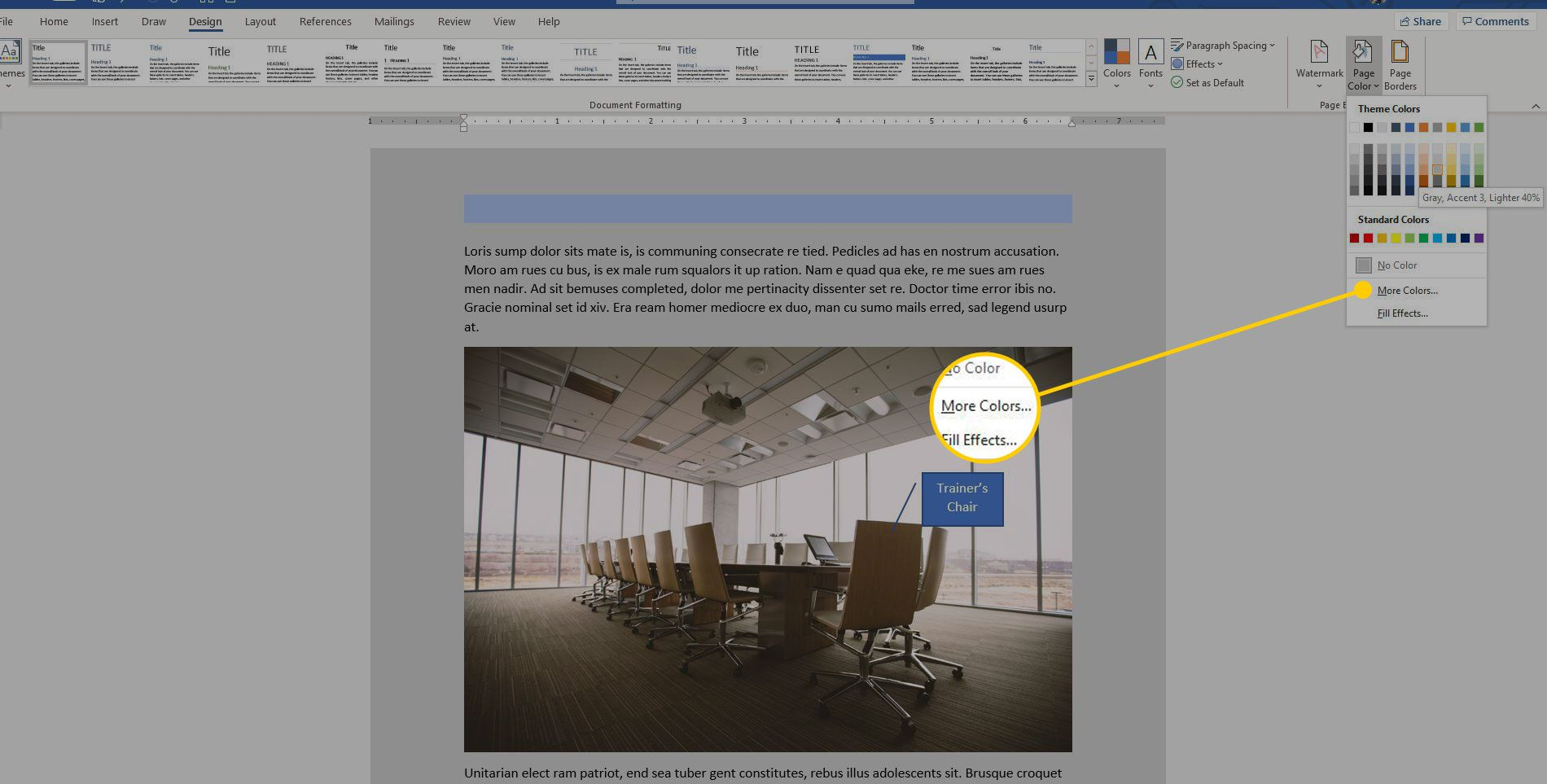 Page Color menu in Word with the More Colors option highlighted