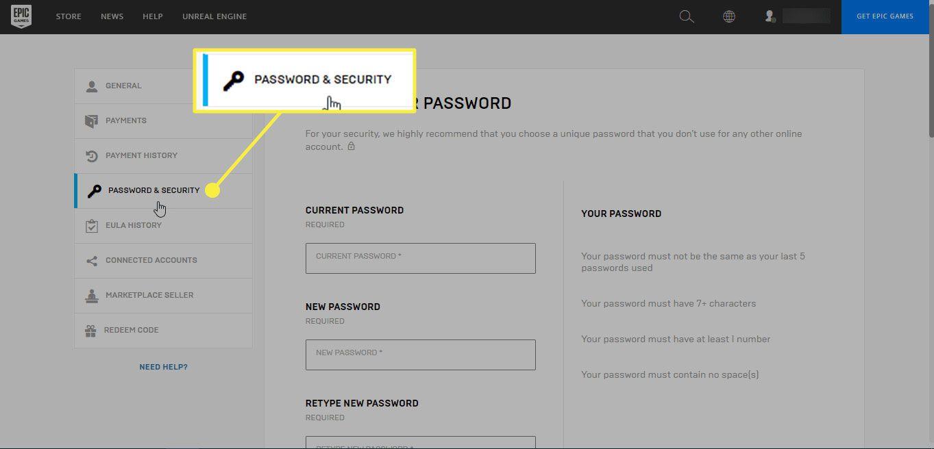 The Password & Security header