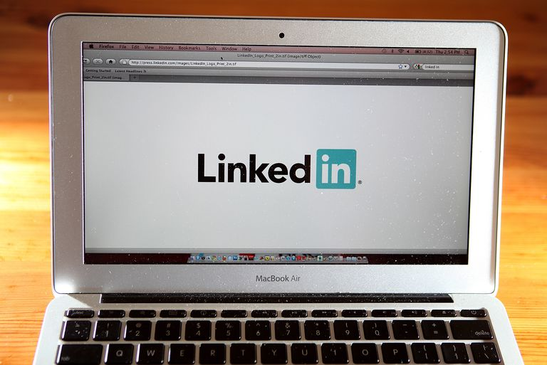 An image of the LinkedIn logo on a laptop screen.