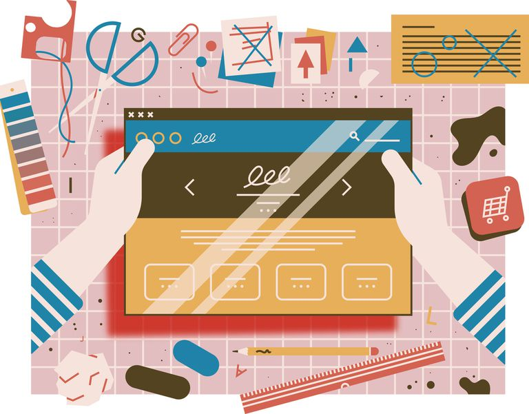 Artistic illustration depiciting web design with crafting materials