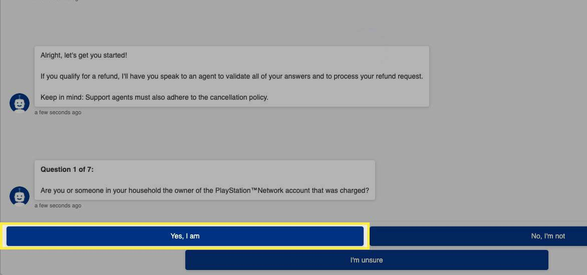 Confirming PlayStation Network account ownership with PlayStation support bot.