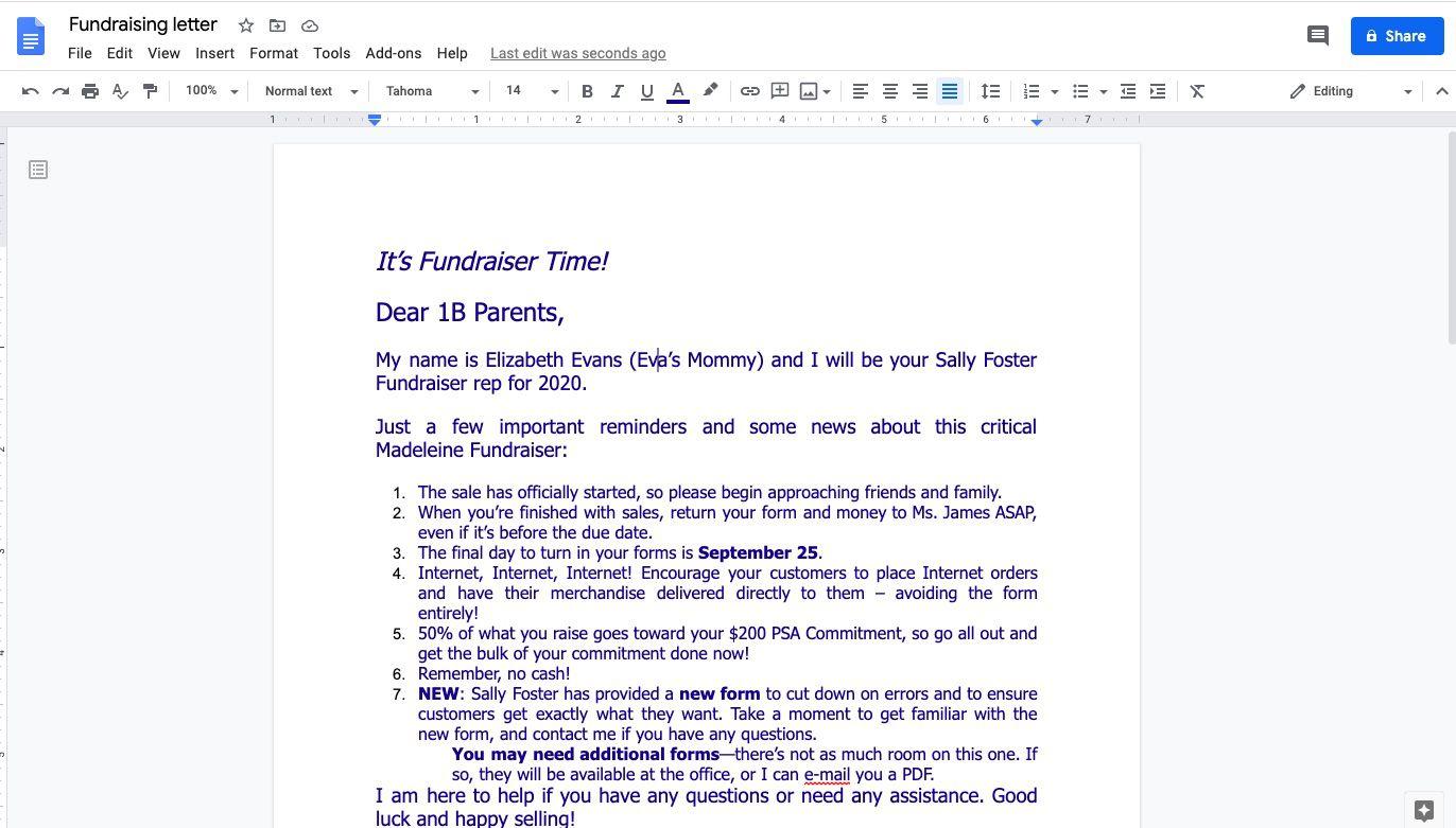 Google Docs document with preset margins