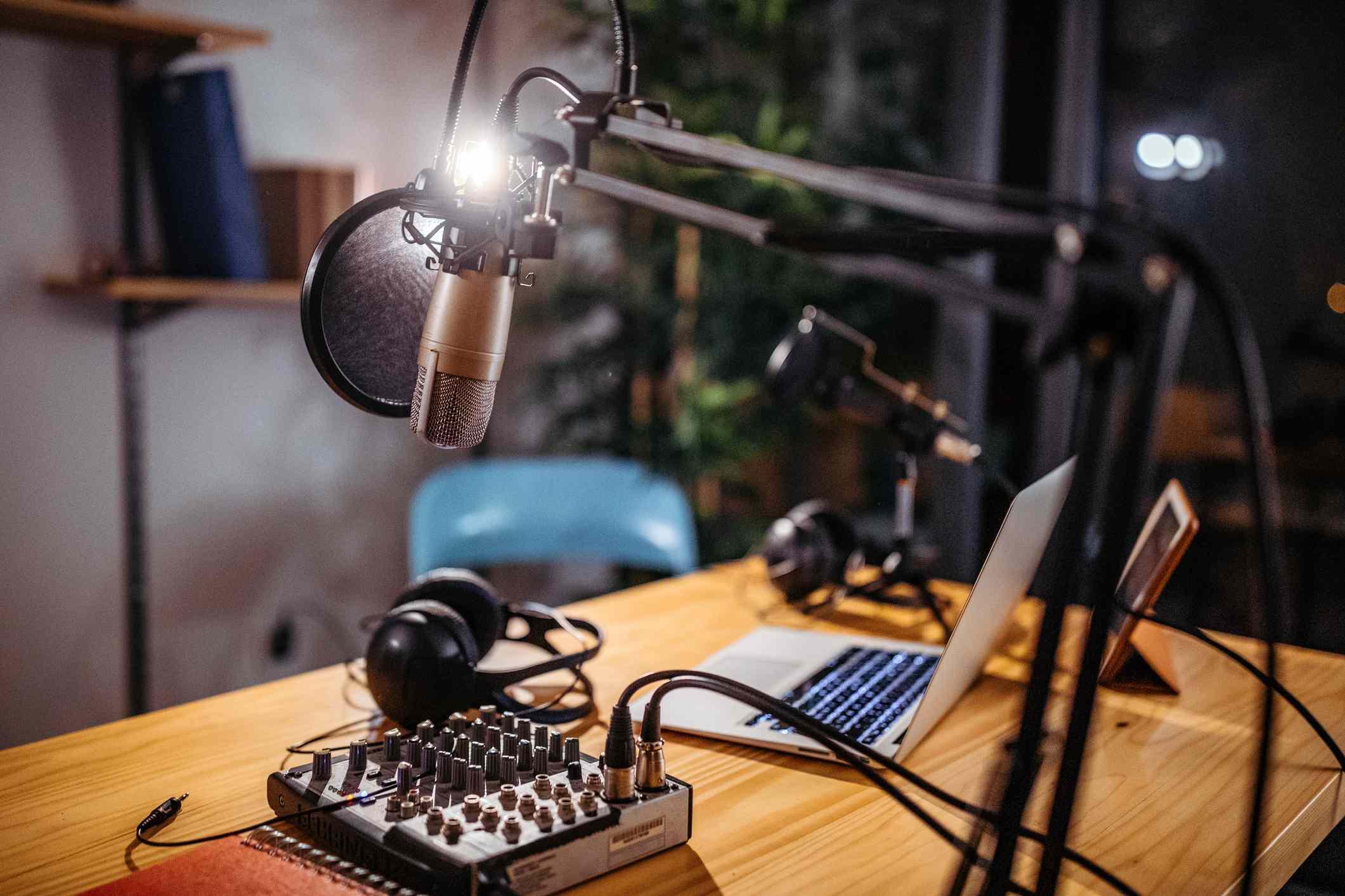 A podcasting studio.