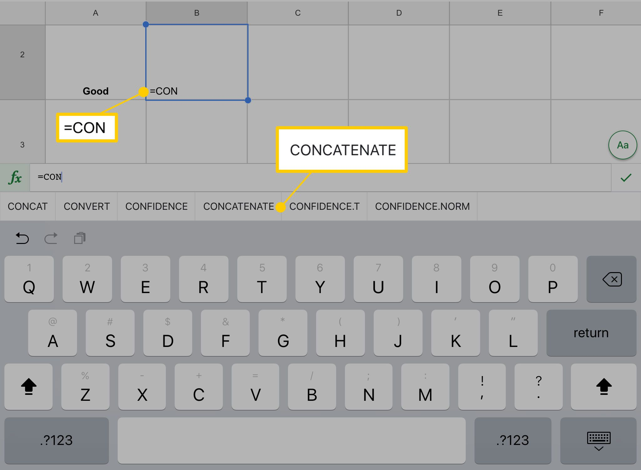 Google Sheets: Concatenate Function