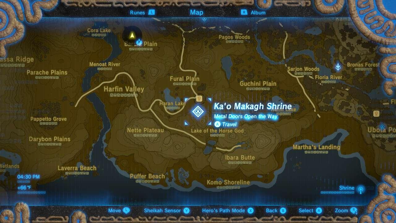 Warping to Ka'o Makagh Shrine in Zelda: Breath of the Wild.