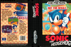 Sonic the Hedgehog cover art on the Sega Genesis.