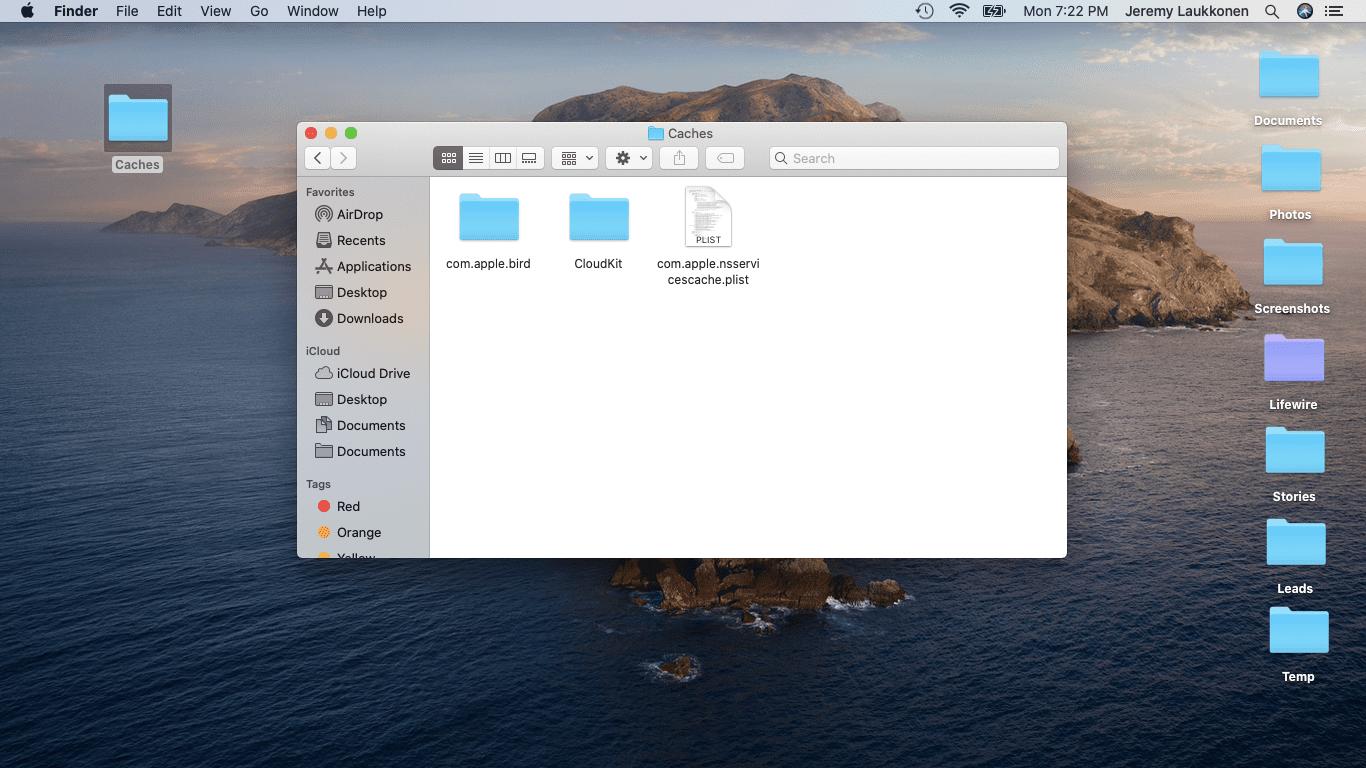 A screenshot of cache files repopulating on a Mac.