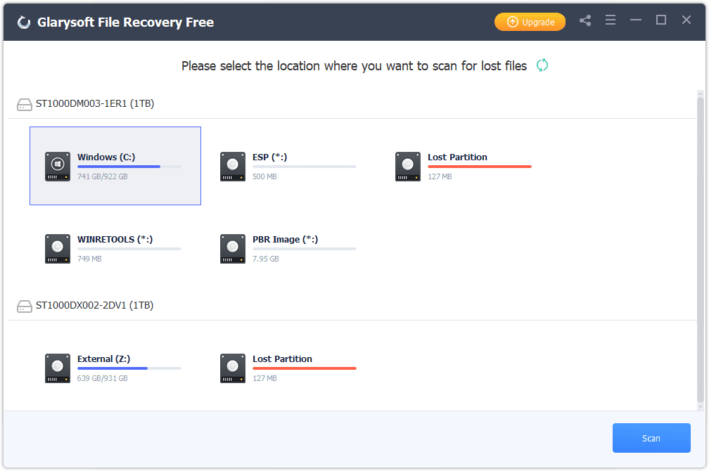 list of hard drives in Glarysoft File Recovery Free