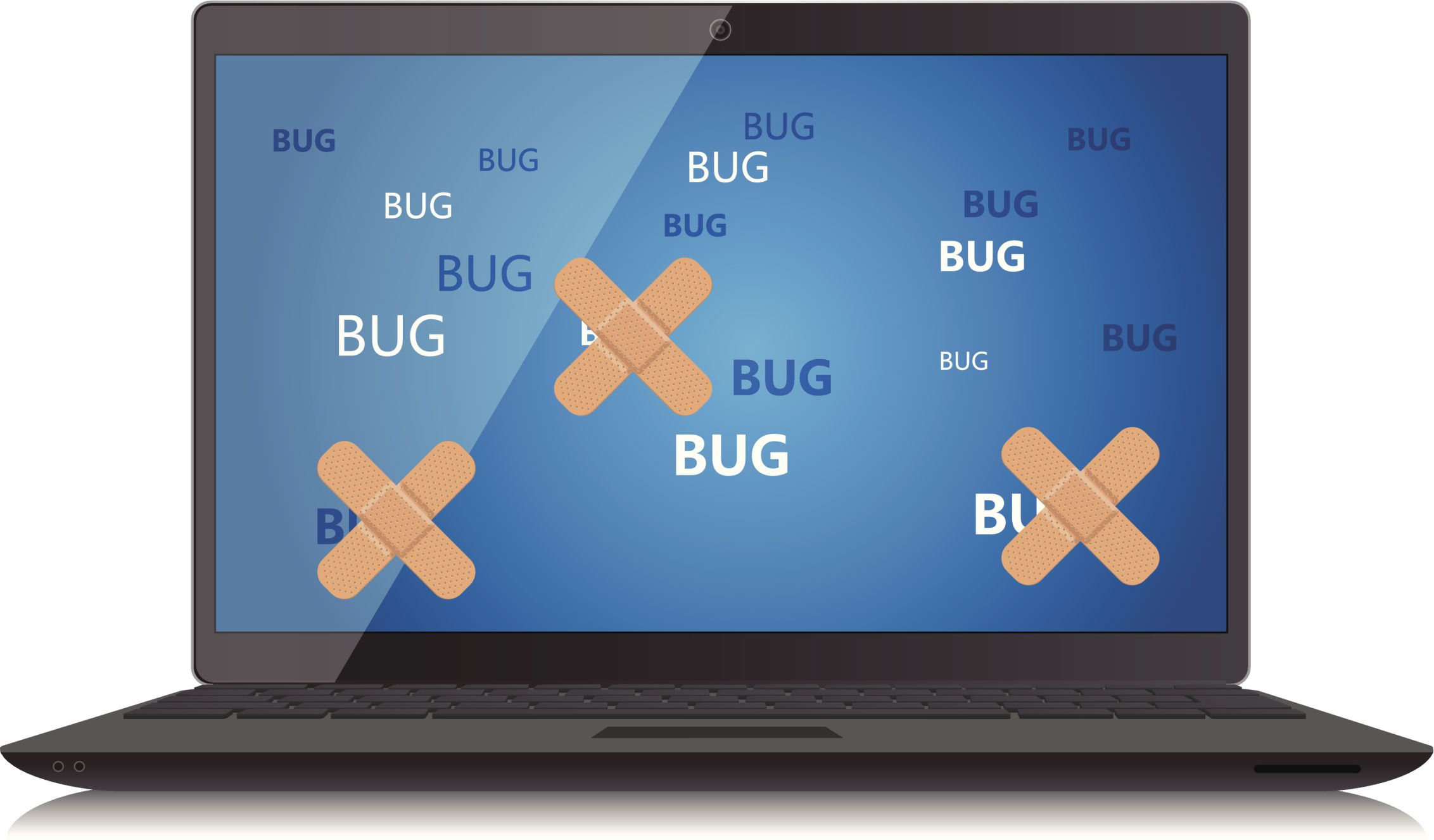 Image of a laptop with bugs, some of which have bandages on them