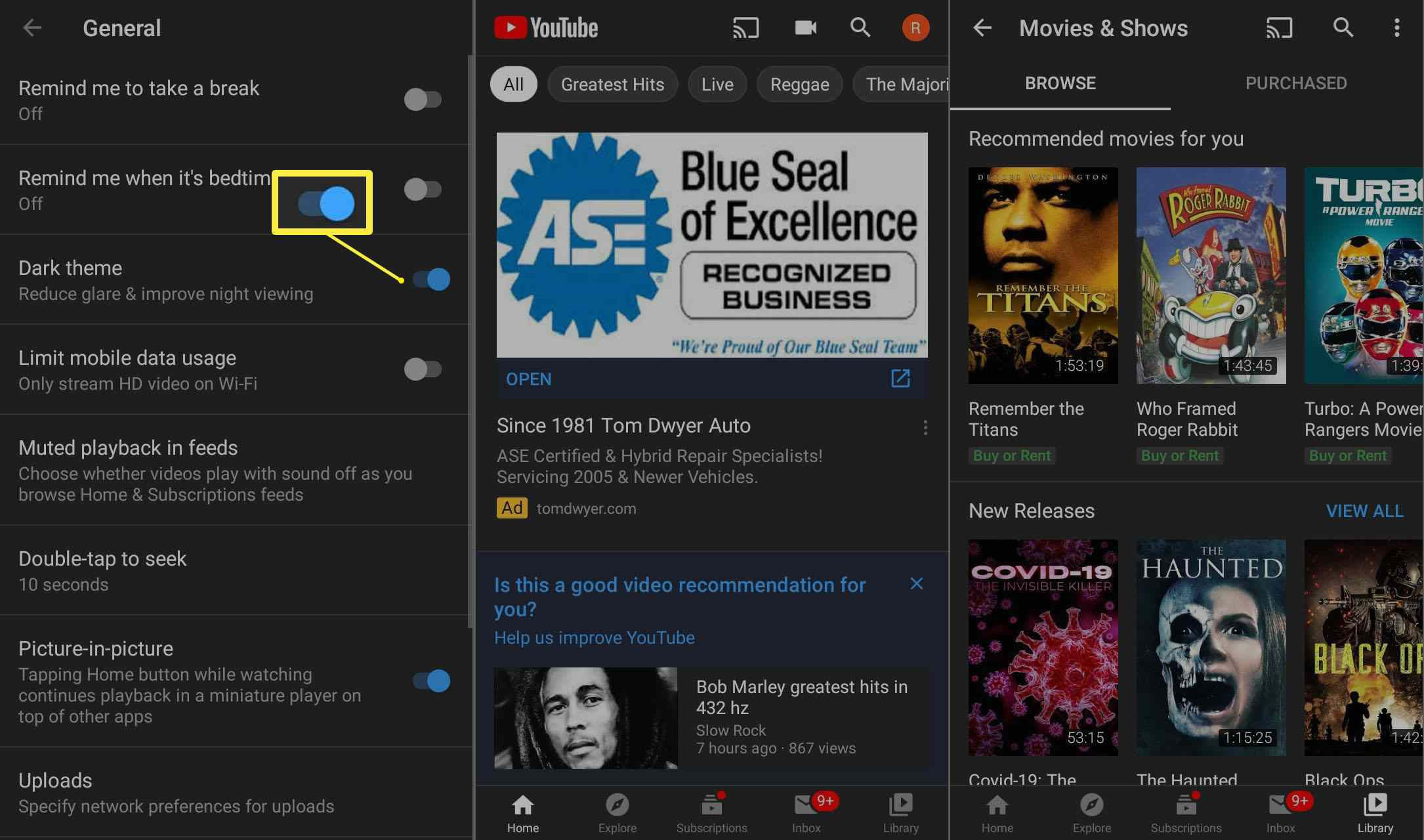 The Dark theme on YouTube for Android.
