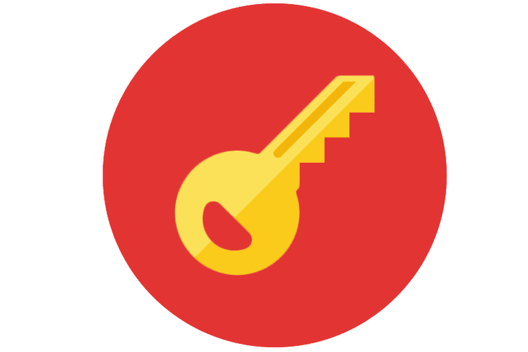 Illustration of a yellow key on a red circle