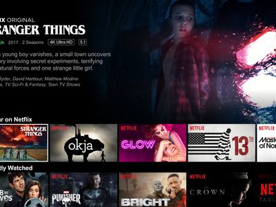 Netflix home screen with a description of the show Stranger Things