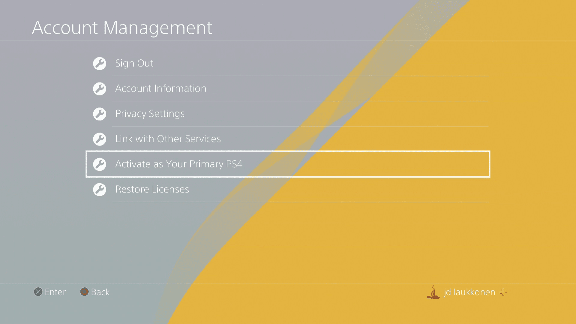 A screenshot of PS4 account management.