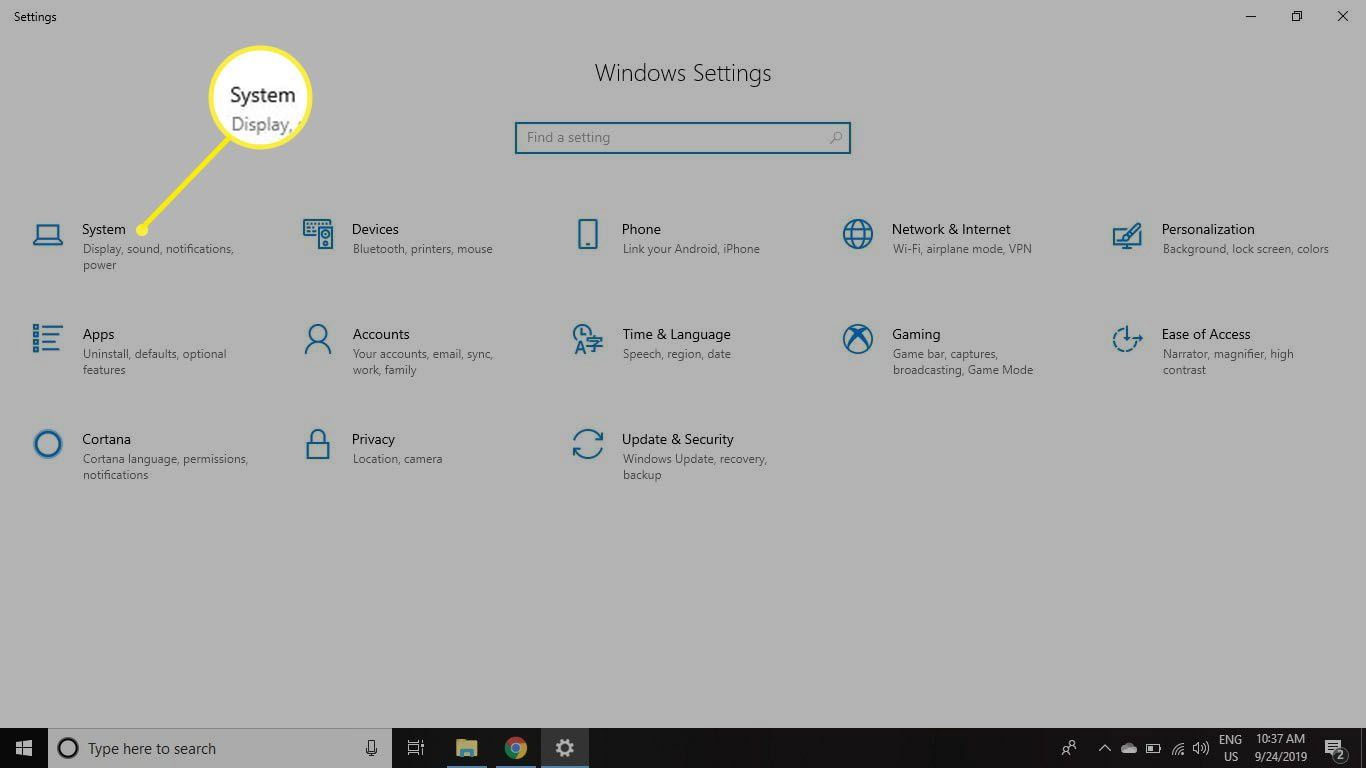 Open your Windows Settings and select System