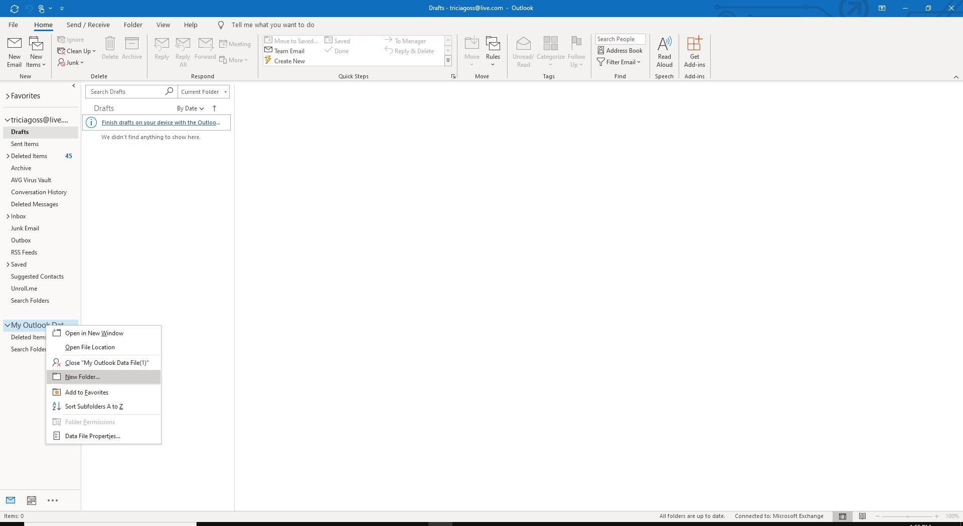 Screenshot of New Folder in right-click menu