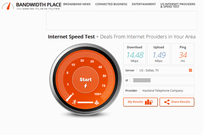 Screenshot of Bandwidth Place internet speed test results