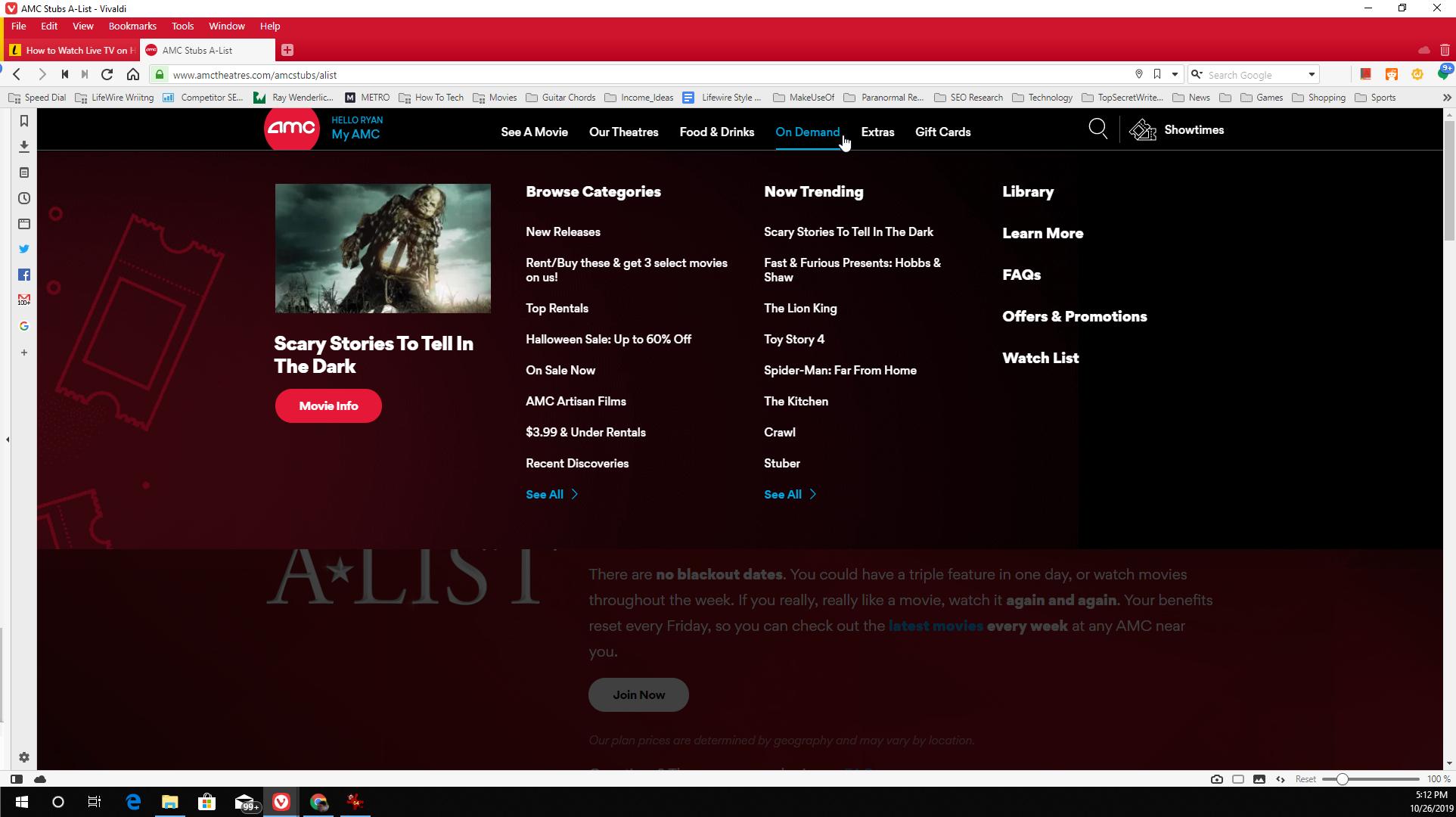 Screenshot of My AMC account On Demand menu