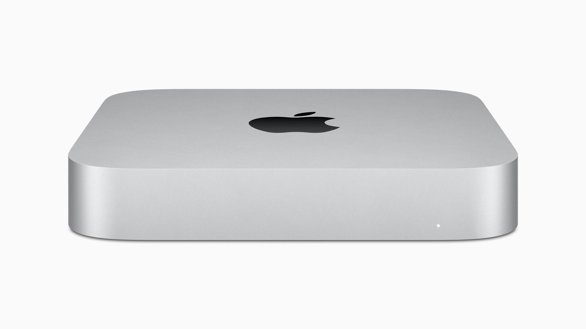 Apple Mac mini in silver on a white background